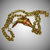 Chinese Cloisonne Export Enameled Gold Articulated Fish Necklace