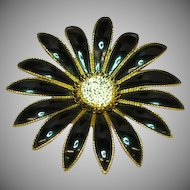 50% OFF SALE  Enamel Black & White Giant Flower Brooch Pin