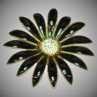 50% OFF SALE  Enamel Black & White Giant Flower Brooch Pin