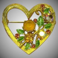 Weiss,Scrumptious Sweets for the Sweet Rhinestones Enameled Heart Brooch