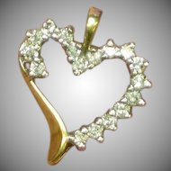 10K Yellow Gold Diamonds Witches Heart Pendant or Charm