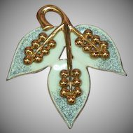 Copper Beautiful, Genuine Enameled Leaf Pin Brooch.