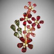 Austrian  Shimmering Rhinestone Scrumptious Flower Brooch Pin.