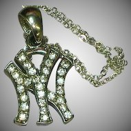 50% OFF SALE  New York NY Rhinestones Pendant Chain Necklace.