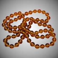 "Art Glass Hand Made Glass Beads Crystal Clear Amber 40"" Necklace"