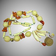 50% OFF SALE Rare Corals ,Bone,Wood,Turquoise,Shell Ethnic Tropical Necklace.