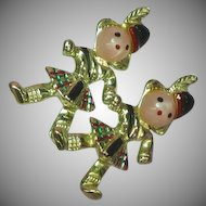 Kilted Scottish Children Set Pin Brooch