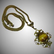 Czech Necklace  Brass Tiger Eye Cabochon Floral Filigree Necklace
