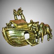 Noah's Ark Figural Gold Tone Brooch Pin