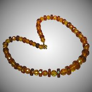 "SALE! Amber Genuine Poland Baltic Faceted Beads Estate 21"" long Necklace"