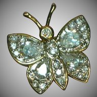 Real Diamond and Gold Look CZ Crystal and Vermeil Butterfly Pin Brooch