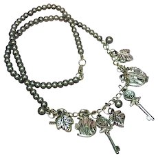 Charm Cluster  Silver Tone with Faux Black Pearls Necklace