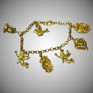 50% OFF SALE Gold Tone 7 Charms Heart Charm Bracelet