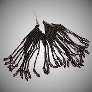 Seed Bead and Bugle Bead Wine Purple Pierced Dangle Earrings