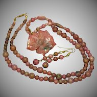 Rhodonite Hand Carved Flower on Beautiful Hand Drilled Beads Necklace and Earrings Set Demi Parure