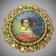 14K Solid Gold Fine Hand Painted Miniature Portrait Vintage Pin / Brooch / Pendant