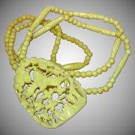 Vintage Hand-Carved Large Bone Crane Flowers Necklace