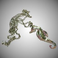 50% OFF SALE Seahorse Rhinestones Silver Plate Necklace