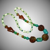 "Jade Pierced and Carved Chinese Large Rust Beads  Incredible Turquoise Mother of Pearl Size 26"" Necklace"