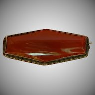 Art Deco German Marked Sterling Silver Carnelian Agate Pin Brooch.