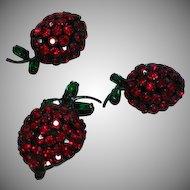Warner Red Rhinestone Cherries or Strawberries Pin Earring Set Demi Parure