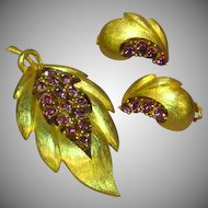 J.J. Rhinestones Purple Pin and Earrings Set Demi Parure