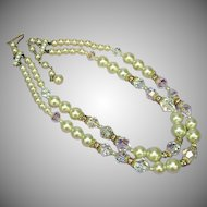 50% OFF SALE  Crystal,Fancy Cut Glass Rhinestones and Faux Pearl Necklace