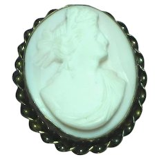 Coral Angel Skin Carved Cameo, Wonderful Gold Filled Detailed Frame Brooch, Pin,Pendant