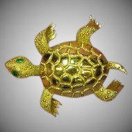 50% OFF SALE Monet Turtle Bright Shiny Gold-tone Rhinestones Eyes Figural Pin Brooch