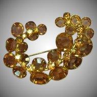 Kramer Signed Topaz and Light Colorado Topaz Crystals Pin Brooch