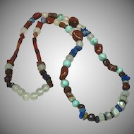 "Gemstones Chunky Chinese Turquoise Onyx Lapis Agate 24"" Southwest Necklace"