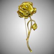 50% OFF SALE  Vintage Signed Heavy Wonderful Long-Stemmed Rose Pin, Brooch