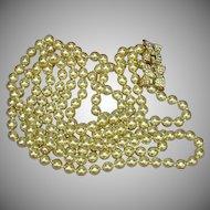 "KJL © 34"" Double Strand Opera Length Golden Glass Pearls Necklace"