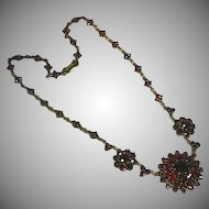 Antique Czech Bohemian Garnet  Necklace