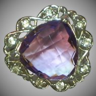 Sterling Silver Rhodium Plate Cushion Cut Amethyst Zircon Diamonique Ring