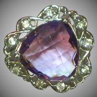Sterling Silver Rhodium Plate Cushion Cut Amethyst Zircon Diamonique Ring