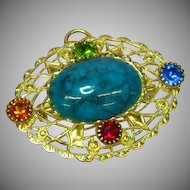 Czech Filigree Rhinestones Art Glass Faux Turquoise Brooch Pin Pendant