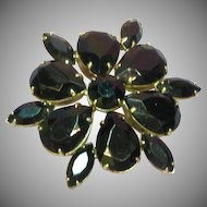 50% OFF SALE Rhinestones Black Glass Massive Gold Plate Pin Brooch