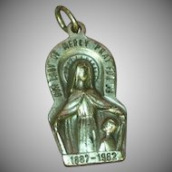 Religious Medal Vintage Large Sterling Silver Charm Pendant