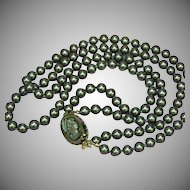 Cameo Pin Gorgeous Vintage Double Strand Hand Knotted Black Pearl Necklace Clasp Detaches