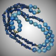 "SALE!!  Gemstones Denim Lapis Beads Lapis Lazuli Chips 32"" Necklace"