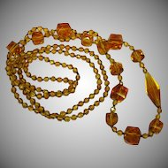 50% OFF SALE Art Deco Amber Glass Crystal Bead Crystal Sautoir Flapper Necklace Handmade