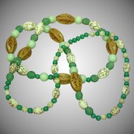 Green Vaseline Glass Mix Bead Pressed Glass Long Necklace