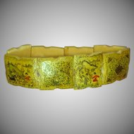 Hand Painted 8 Panel Story/Picture Old Persian Panel Ox Bone  Scenic Bracelet