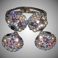 Hattie Carnegie Signed Rhinestones Pearl Necklace,Clamper Bracelet,Clip Earrings Parure