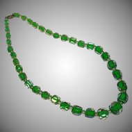 Crystal, Green Cased and Rock Crystal Bead Necklace