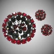 50% OFF SALE Rhinestones Red Japanned Dangle Brooch and Earrings Demi Parure