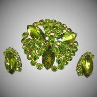 Regency Unsigned Rhinestones  Olivine Green Sensational Large Pin and Earrings Demi Parure