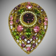 Florenza Purple Pink And Green Rhinestone Vintage Pin Brooch