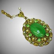50% OFF SALE   West Germany Ornate Filigree Pendant Rhinestones Green Cats-Eye Center  Necklace